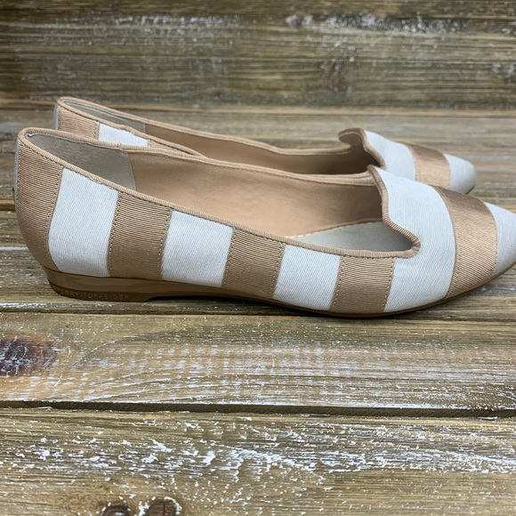 Sperry Top Slider Tan & White Striped Flats